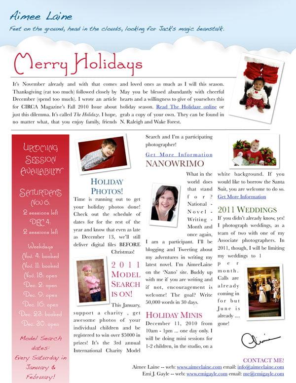 Aimee Laine November 1 2010 Newsletter