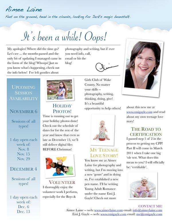 AimeeLaine October 15, 2010 Newsletter
