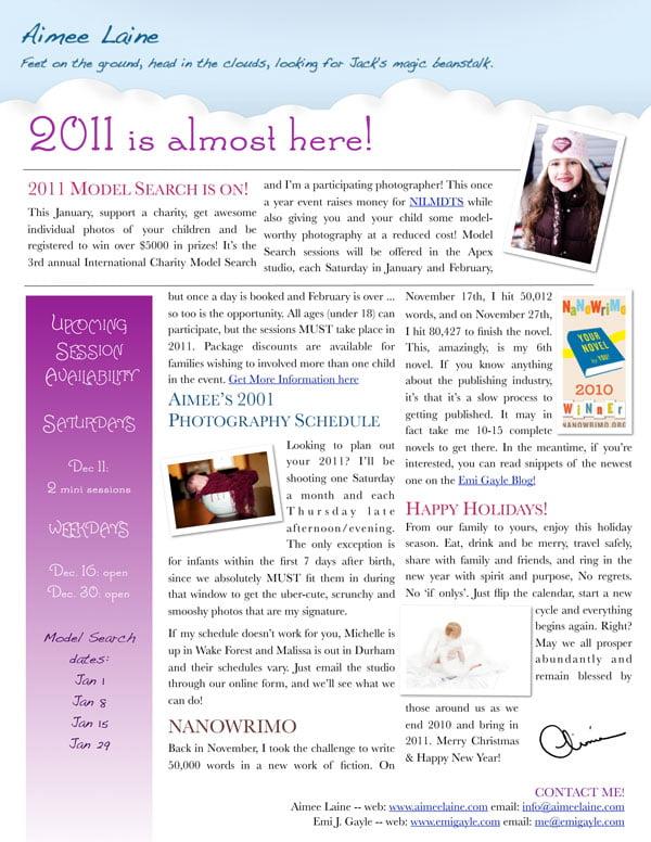 Aimee Laine, LLC December 2010 Newsletter