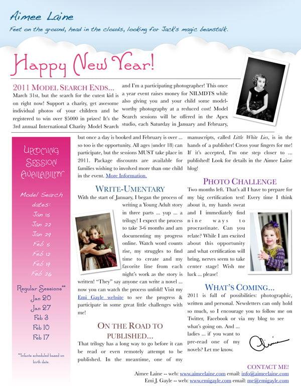 Aimee Laine - January 2011 - Newsletter