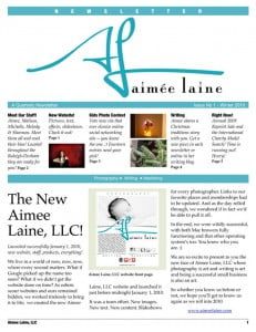 Aimee Laine Winter 2010 Newsletter - Page 1