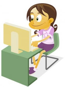 Girl Playing a Computer